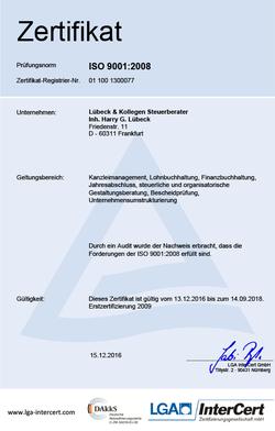 [Translate to Englisch:] Zertifizierung nach DIN EN ISO 9001:2008 für die Steuerberatungskanzlei Lübeck in Frankfurt am Main