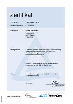 Zertifizierung nach DIN EN ISO 9001:2015 für die Steuerberatungskanzlei Lübeck in Frankfurt am Main